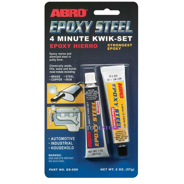 εποξικη κολλα μεταλλων ABRO EPOXY STEEL KWIK-SET 57gr, made in U.S.A.