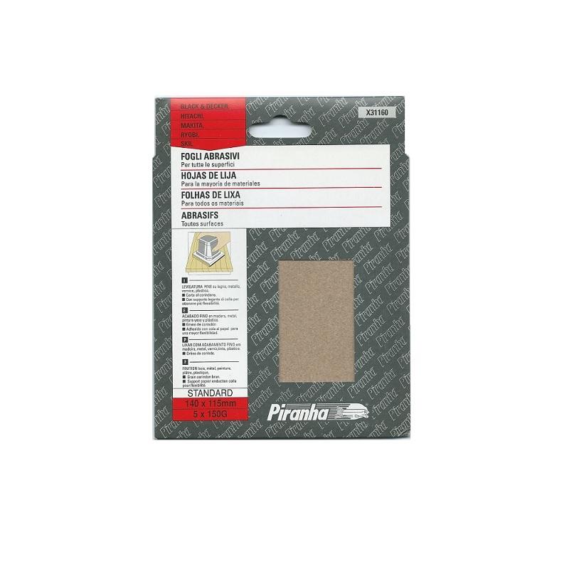 γυαλοχαρτα σετ 5 τμχ Piranha 140X115mm No.150
