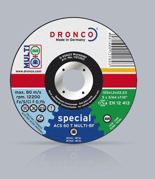 λεπτος δισκος κοπης multi DRONCO για σιδερο inox και πετρα 115mm