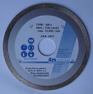 διαμαντοδισκος ROTTLUFF GR-3 χωρις δοντι 110mm