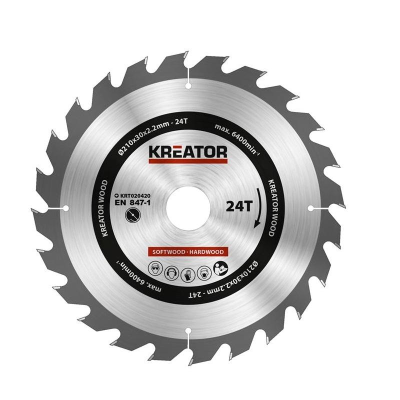 KRT020420 δίσκος κοπής ξύλου 210 x 30 x 2.2 mm με 3 δακτύλιους, 24 δόντια