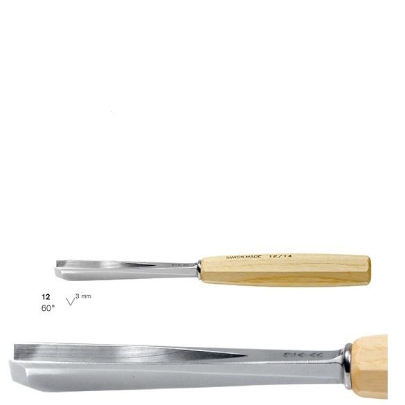 pfeil 12/3 σκαρπέλο ξυλογλυπτικής ευθεία λάμα V κόψη 60° 3mm