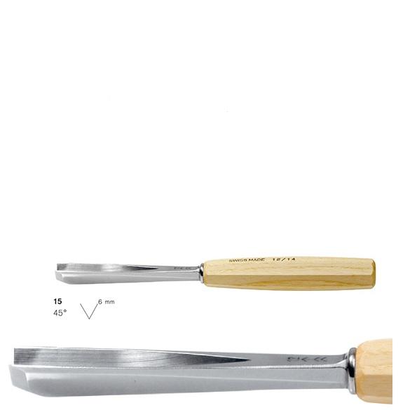 pfeil 15/6 σκαρπέλο ξυλογλυπτικής ευθεία λάμα V κόψη 45° 6mm