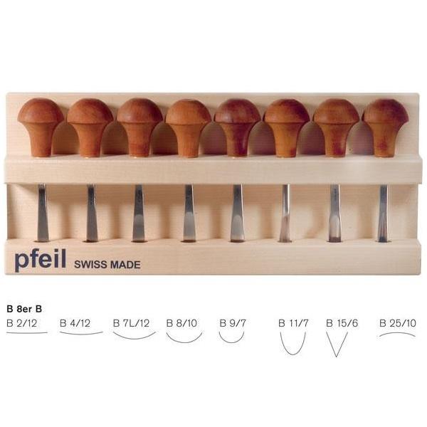 pfeil Β 8er B σετ 8 εργαλειων ξυλογλυπτικης παλαμης σε ξυλινη θηκη