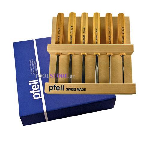 pfeil D  6er σετ 6 εργαλειων ξυλογλυπτικης medium-size σε ξυλινη θηκη