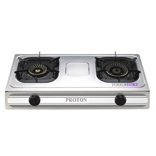 κουζινακι υγραεριου PROTON SS02 επιτραπεζιο INOX με 2 εστιες