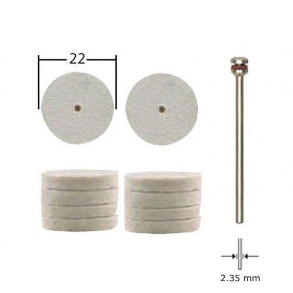 PROXXON 28798 στιλβωτικά τσόχινο διαμέτρου 22mm, σετ 10 τεμαχίων