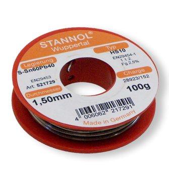 συρμα κολληση STANNOL Sn60Pb40 1.5mm 100g