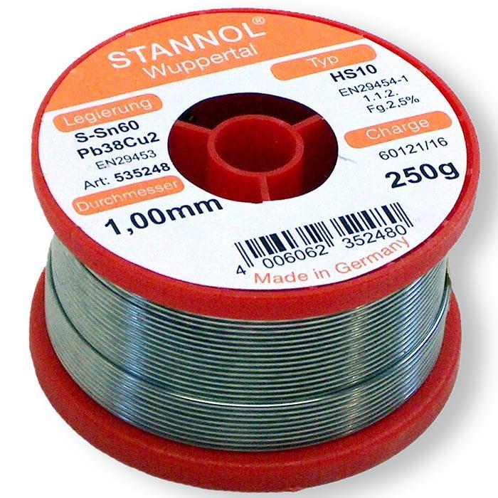 συρμα κολληση STANNOL Sn60Pb39Cu1 1mm 250g