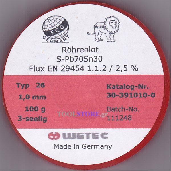 συρμα κολληση WETEC  1mm S-Pb70Sn30 100g