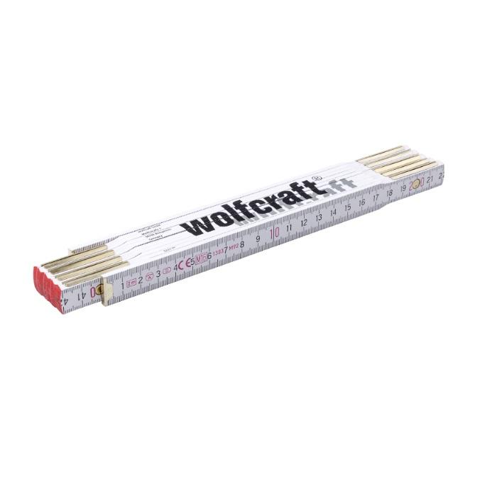 wolfcraft 5227000 μέτρο σπαστό ξύλινο λευκό, 2mX17mm